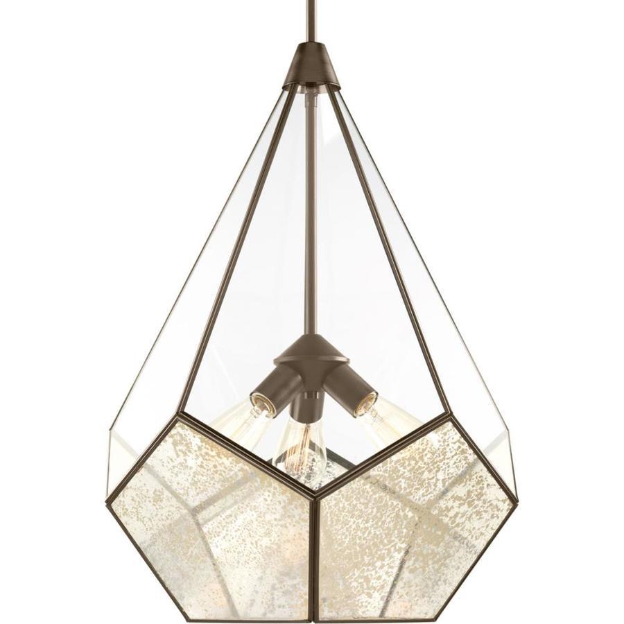 Progress Lighting Cinq 19-in Antique Bronze Hardwired Single Mirrored Glass Standard Pendant