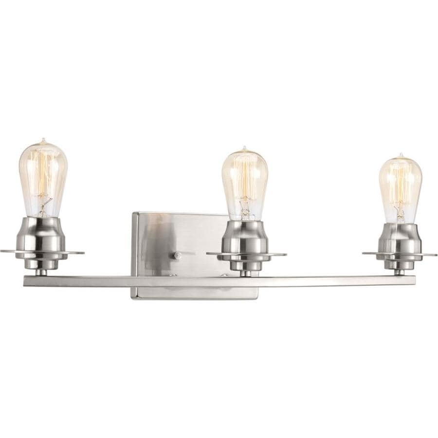 lowes bathroom lighting brushed nickel shop progress lighting debut 3 light 7 875 in brushed 23715