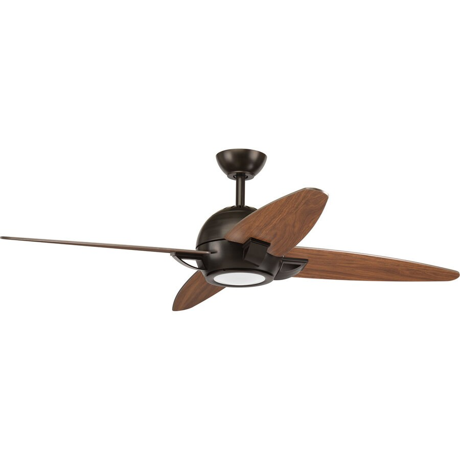 Progress Lighting Soar 54-in Antique Bronze LED Indoor Downrod Or Close Mount Ceiling Fan with Light Kit and Remote (4-Blade)
