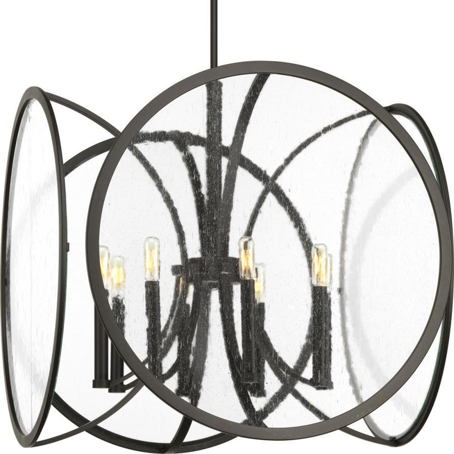 Progress Lighting Captivate 24-in Graphite Single Seeded Glass Pendant