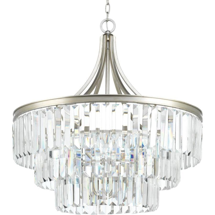 Progress Lighting Glimmer 28-in Silver Ridge Single Tinted Glass Pendant