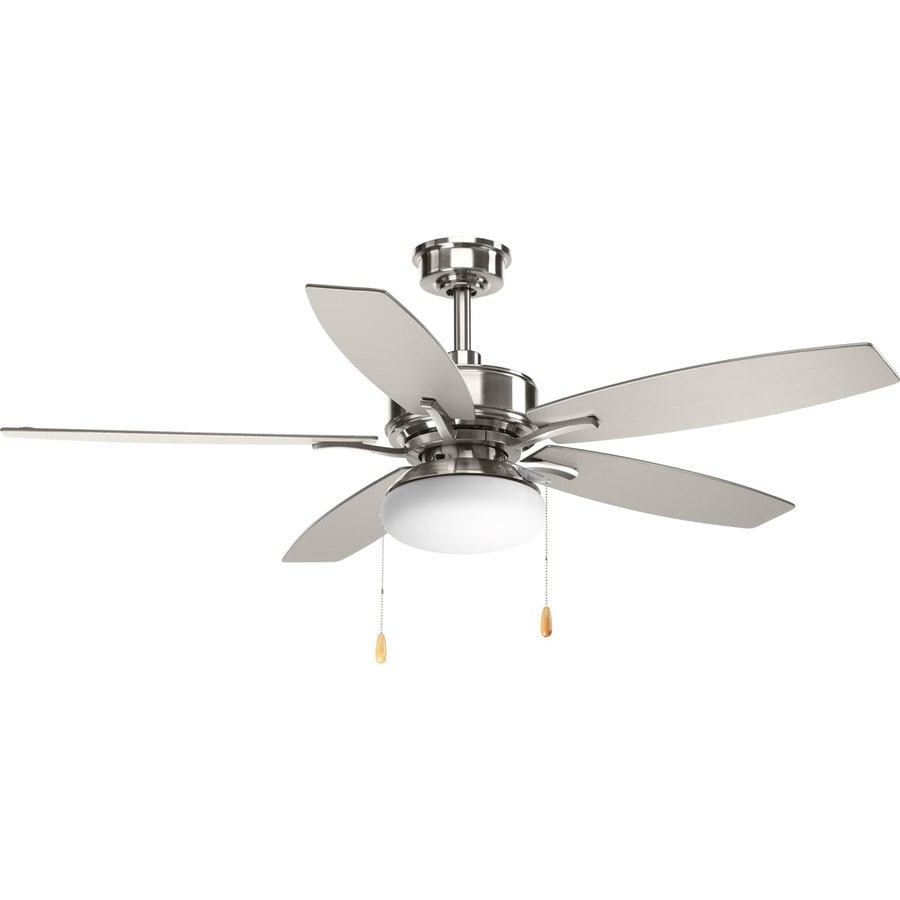 Progress Lighting Billows 52-in Brushed Nickel LED Indoor Downrod Or Close Mount Ceiling Fan with Light Kit