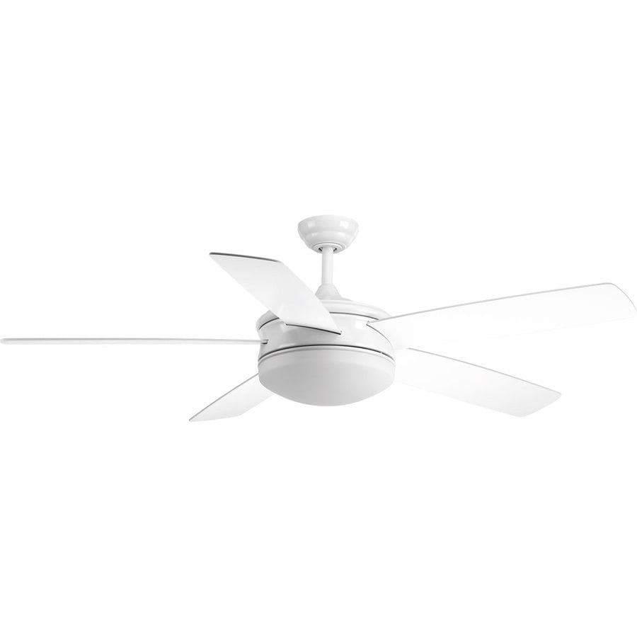 Progress Lighting Fresno 60-in White LED Indoor Downrod Mount Ceiling Fan with Light Kit and Remote ENERGY STAR