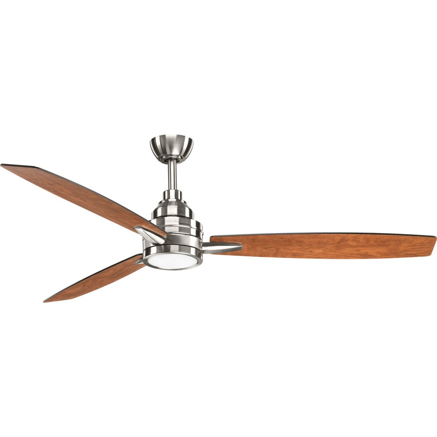 Progress Lighting Gaze 60-in Brushed Nickel Integrated LED Indoor Downrod Or Close Mount Ceiling Fan with Light Kit and Remote (3-Blade)