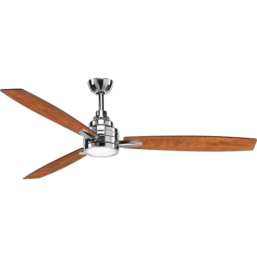 Progress Lighting Gaze 60-in Polished Chrome LED Indoor Downrod Or Close Mount Ceiling Fan with Light Kit and Remote (3-Blade)
