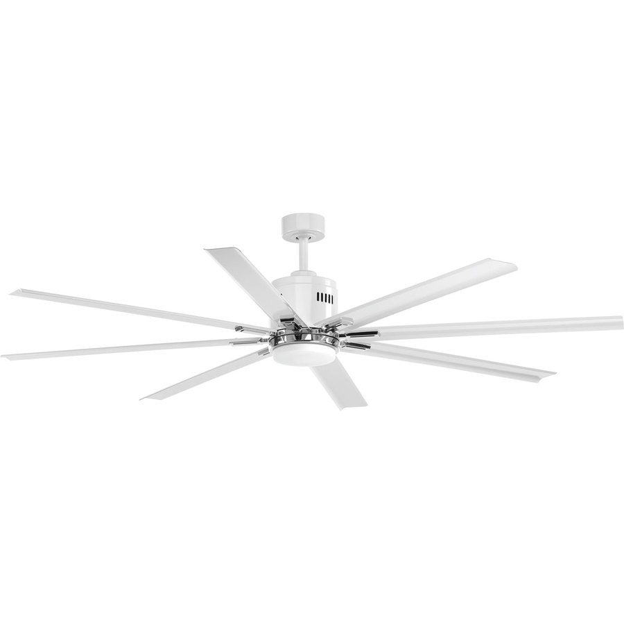 Progress Lighting Vast 72-in White LED Indoor Downrod Or Close Mount Ceiling Fan with Light Kit and Remote (8-Blade)