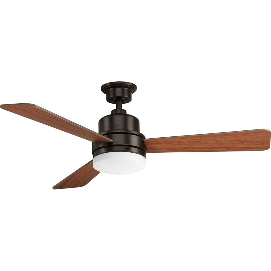 Progress Lighting Trevina 52-in Antique Bronze LED Indoor Downrod Or Close Mount Ceiling Fan with Light Kit and Remote (3-Blade)