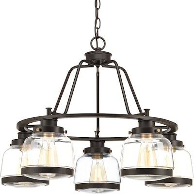 Judson 5 Light Antique Bronze Clear Gl Shaded Chandelier