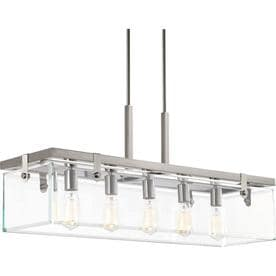Progress Lighting Glayse 36 75 In W 5 Light Brushed Nickel Modern Contemporary Kitchen