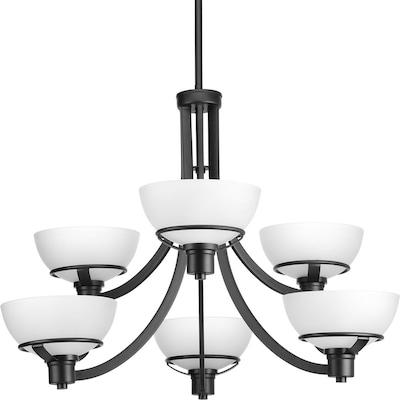 Urban Industrial Double Ring Chandelier: Progress Lighting Domain 6-Light Black Industrial Etched