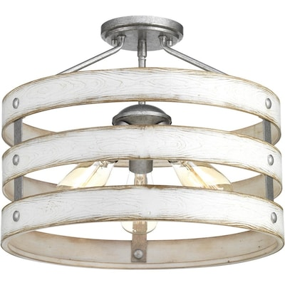 Gulliver 17 In W Galvanized Semi Flush Mount Light
