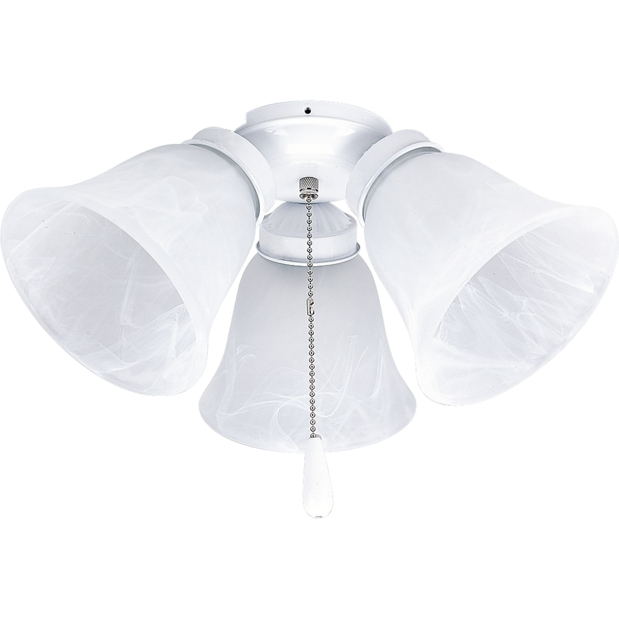Progress Lighting Airpro 3-Light White Incandescent Ceiling Fan Light Kit with Alabaster Shade