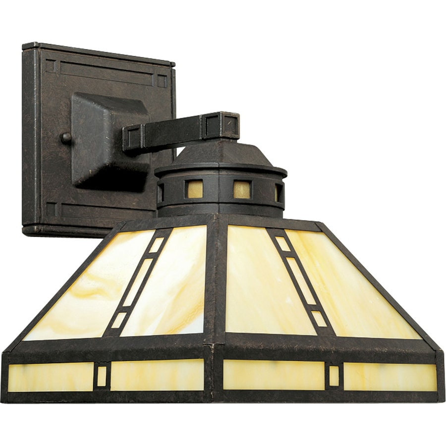 Progress Lighting Arts and Crafts 8.5-in W 1-Light Weathered Bronze Arm Hardwired Wall Sconce