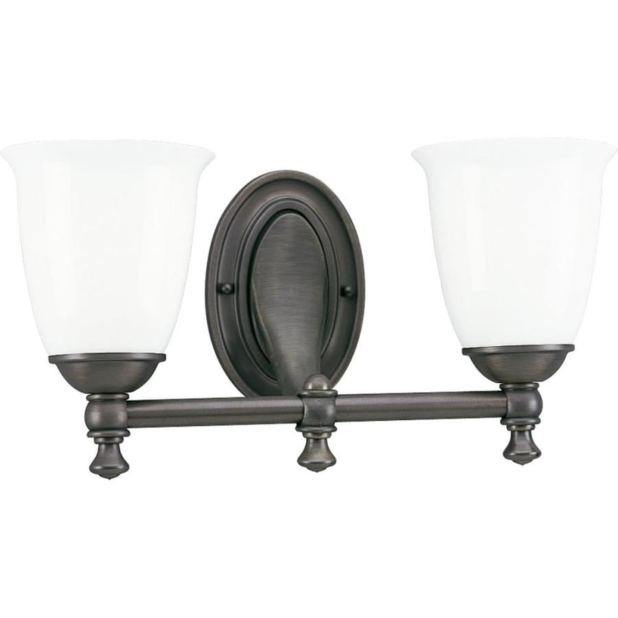 Progress Lighting Victorian 2-Light 8.5-in Venetian Bronze Bell Vanity Light