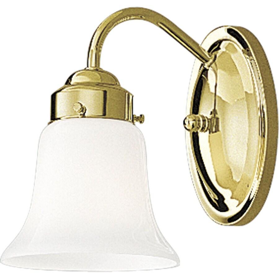 Progress Lighting Opal Glass 1-Light 8.25-in Polished Brass Bell Vanity Light