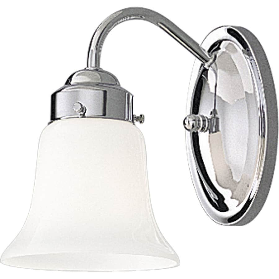 Progress Lighting Opal Glass 1-Light 8.25-in Polished chrome Bell Vanity Light