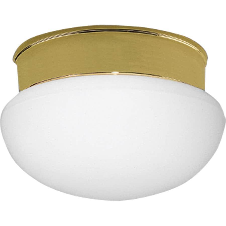 Progress Lighting Fitter 7.5-in W Polished Brass Standard Flush Mount Light