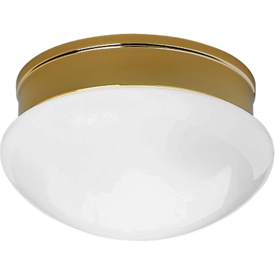 Progress Lighting Fitter 9.5-in W Polished Brass Ceiling Flush Mount Light