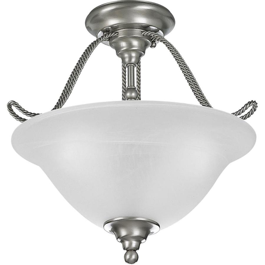 Progress Lighting Avalon 13.12-in W Brushed Nickel Frosted Glass Semi-Flush Mount Light