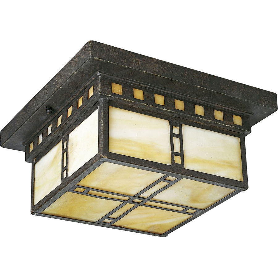 Progress Lighting Arts and Crafts 10-in W Weathered Bronze Standard Flush Mount Light