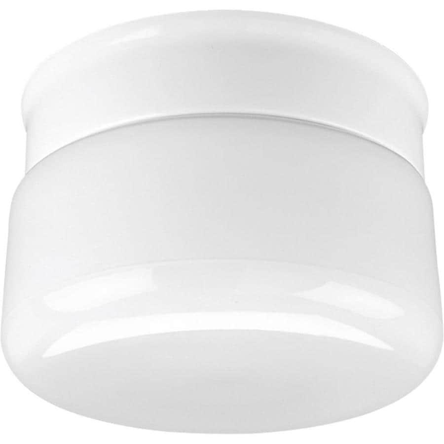 Progress Lighting White Glass 6.75-in W White Flush Mount Light