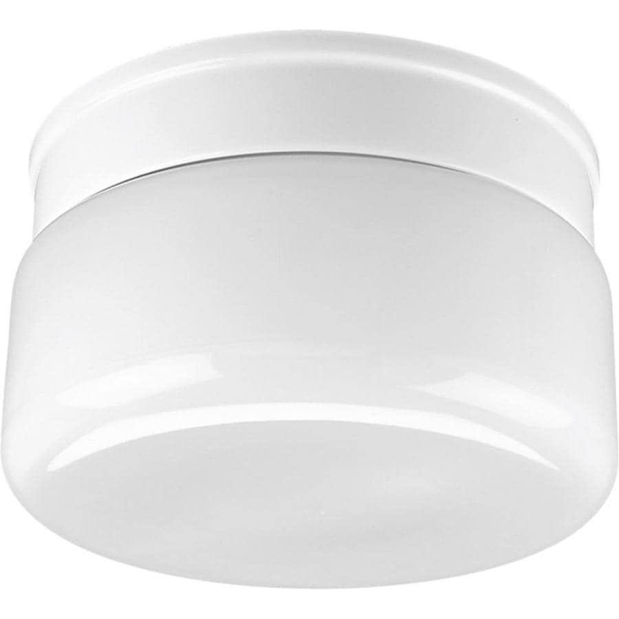 Progress Lighting White Glass 8.75-in W White Flush Mount Light