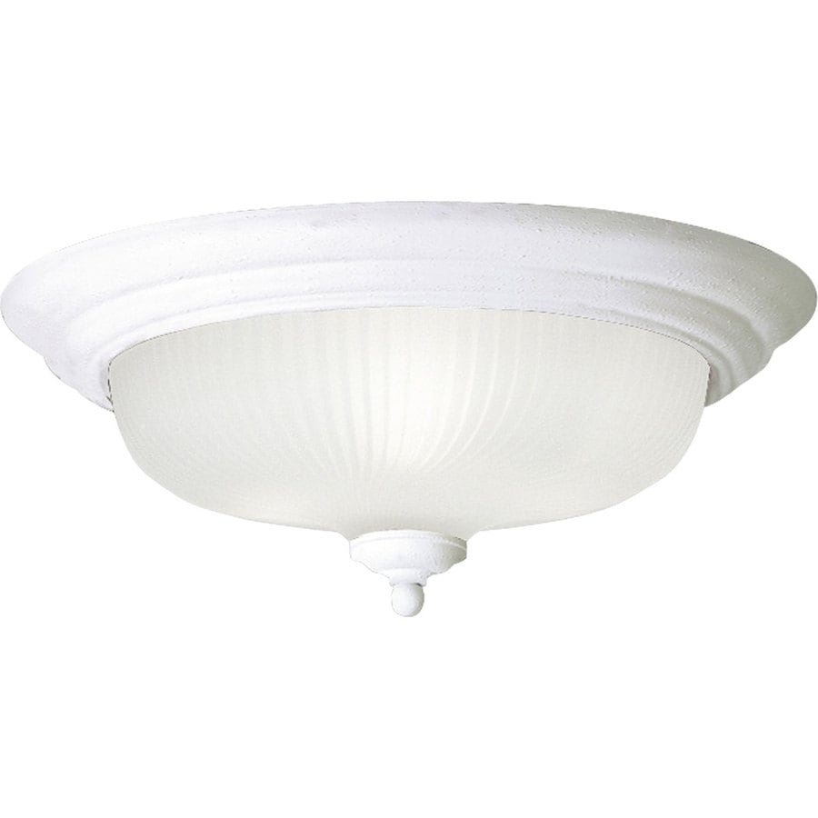 Progress Lighting Swirled Glass 15.25-in W Textured White Ceiling Flush Mount Light