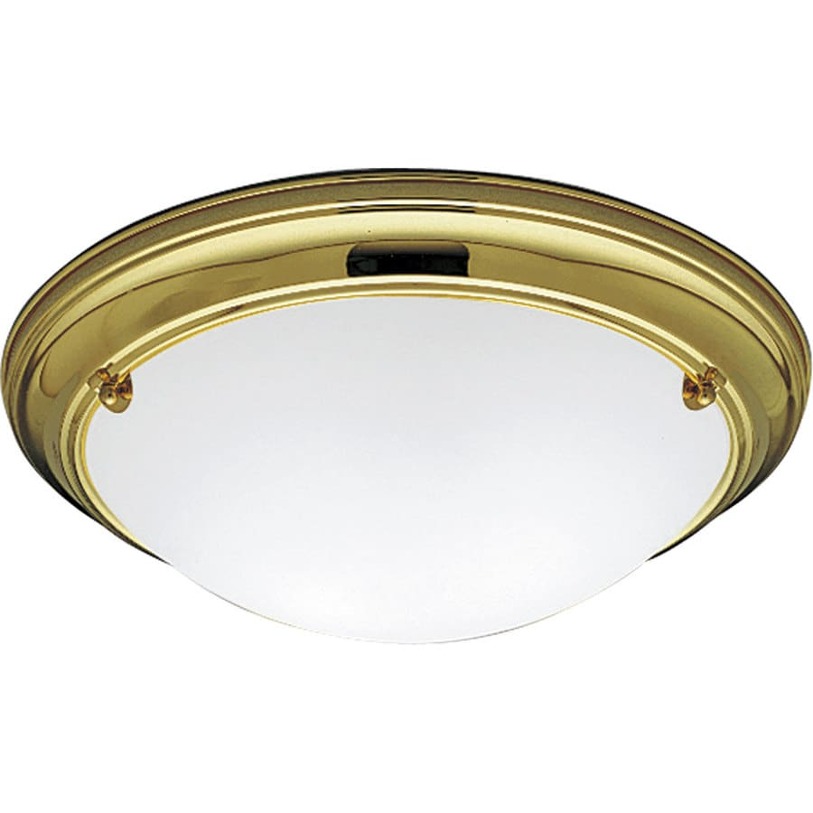 Progress Lighting Eclipse 15.25-in W Polished Brass Flush Mount Light