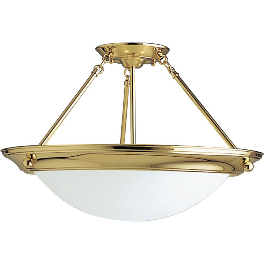 Progress Lighting Eclipse 19.37-in W Polished Brass Frosted Glass Semi-Flush Mount Light