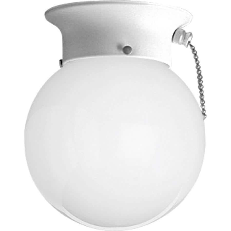 Progress Lighting Glass Globes 6-in W White Standard Flush Mount Light