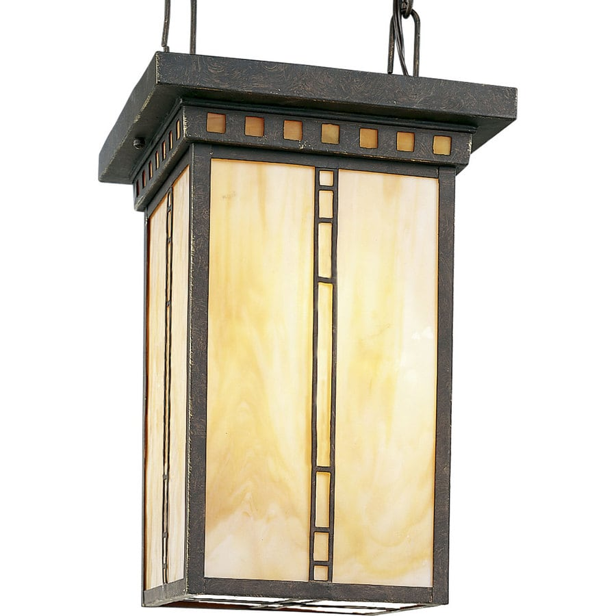 Progress Lighting Arts and Crafts 10-in 3-Light Weathered Bronze Tinted Glass Shaded Chandelier