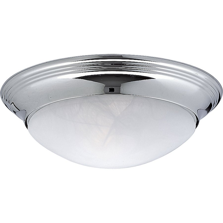 Progress Lighting Alabaster Glass 11.5-in W Chrome Flush Mount Light