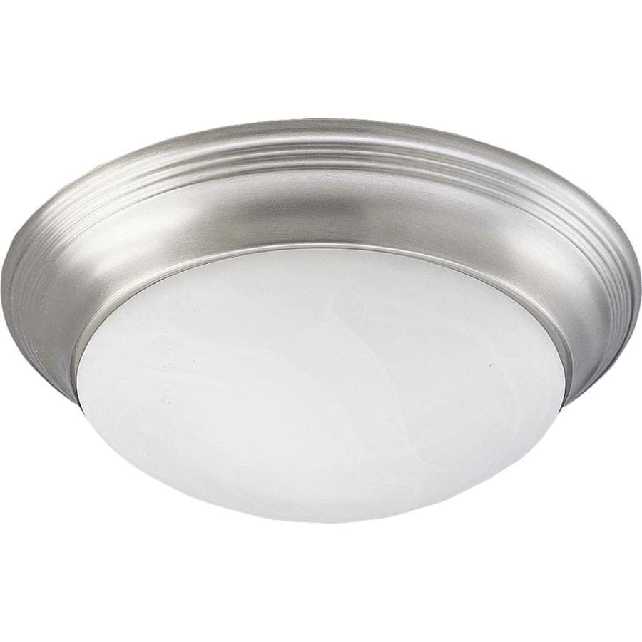 Progress Lighting Alabaster Glass 14-in W Brushed Nickel Flush Mount Light
