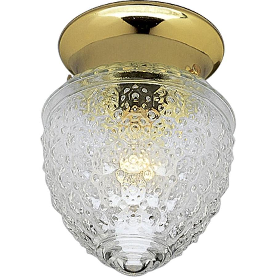 Progress Lighting Glass Globes 5.5-in W Polished Brass Standard Flush Mount Light