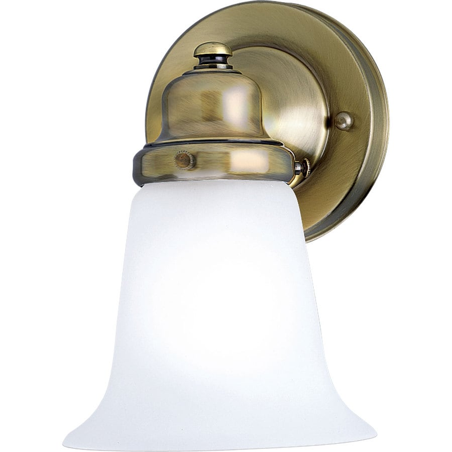 Progress Lighting 1-Light 7.875-in Antique brass Bell Vanity Light