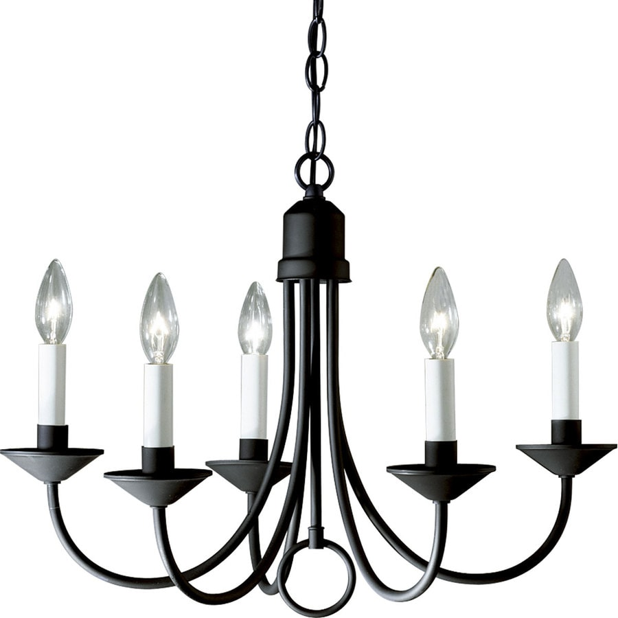 Progress Lighting 21-in 5-Light Textured black Shaded Chandelier