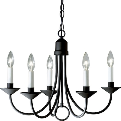 5 Light Textured Black Transitional Shaded Chandelier