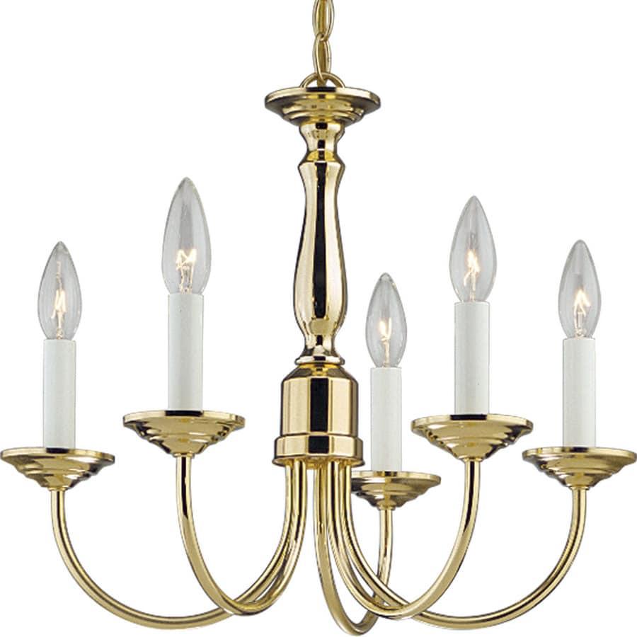 Progress Lighting 17.5-in 5-Light Polished Brass Shaded Chandelier