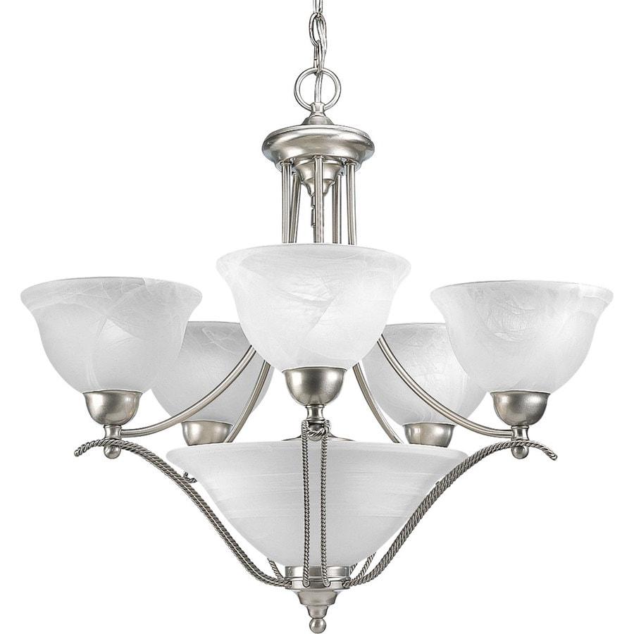 Progress Lighting Avalon 26.375-in 5-Light Brushed Nickel Alabaster Glass Shaded Chandelier