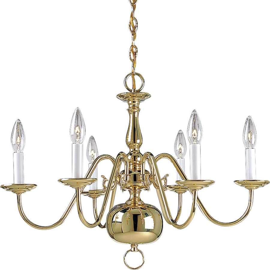 Progress Lighting Americana 25-in 6-Light Polished Brass Tinted Glass Tiered Chandelier
