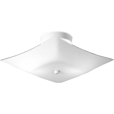 Square Glass 12 In White Transitional Incandescent Flush Mount Light