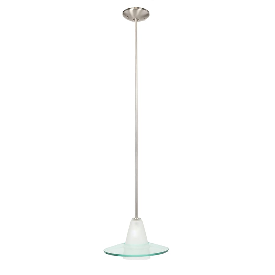 Progress Lighting 12-in Brushed Nickel Mini Clear Glass Bell Pendant
