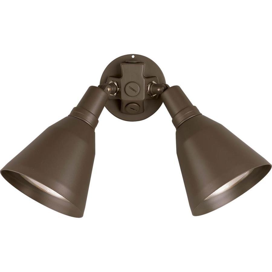 Progress Lighting 11.3125-in 2-Head Halogen Antique Bronze Switch-Controlled Flood Light