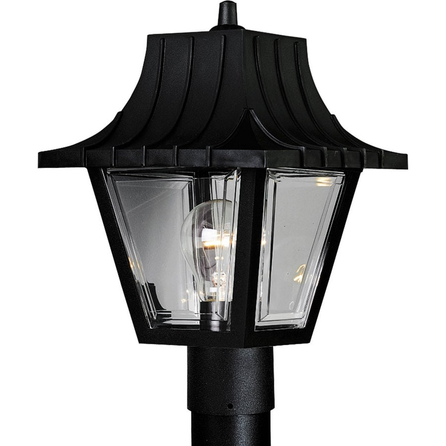 Progress Lighting Mansard 12-in H Textured Black Post Light