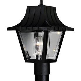 lowes exterior lighting landscape progress lighting mansard 12in textured black post light outdoor at lowescom