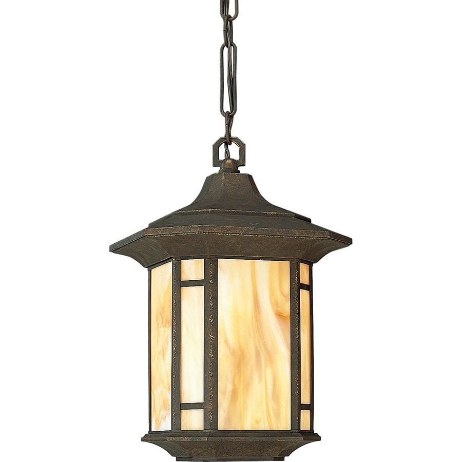 Progress Lighting Arts and Crafts 15.25-in Weathered Bronze Outdoor Pendant Light