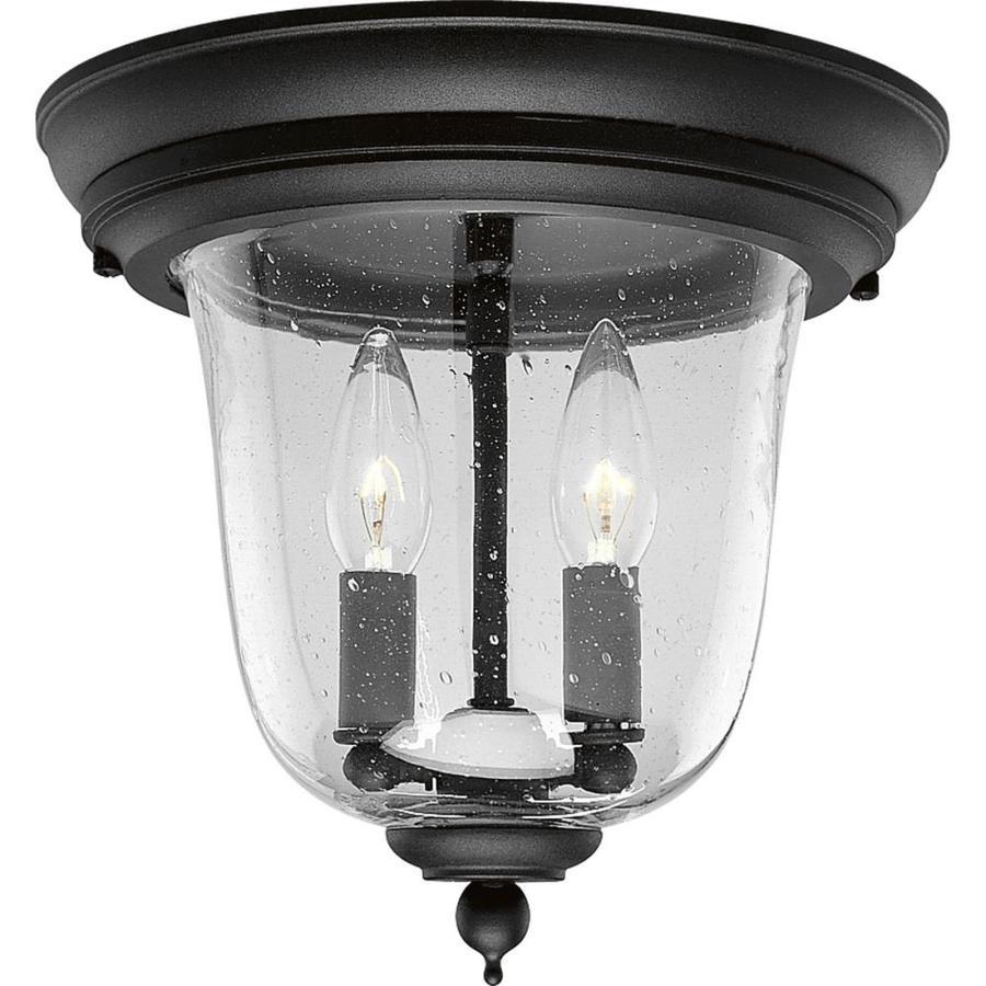 Progress Lighting Ashmore 10.62-in W Textured Black Outdoor Flush-Mount Light