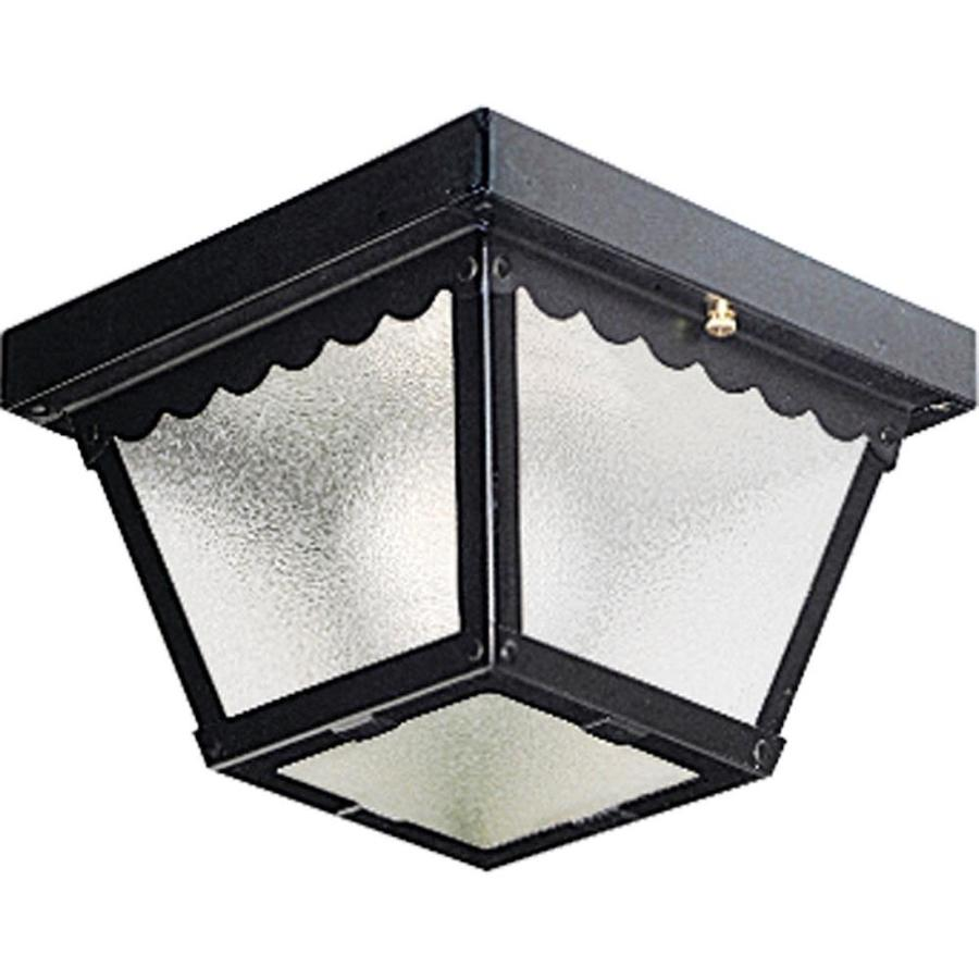 Progress Lighting 7.5-in W Black Outdoor Flush-Mount Light
