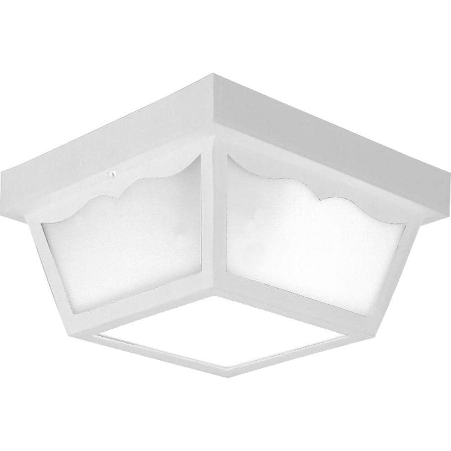 Progress Lighting 10.25-in W White Outdoor Flush-Mount Light