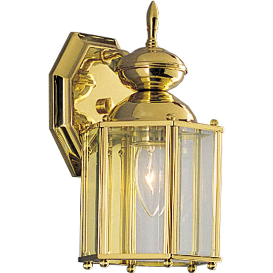 Progress Lighting Brassguard 10.25-in H Polished Brass Outdoor Wall Light